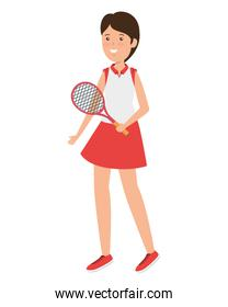 happy athletic girl with racket practicing tennis