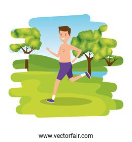 happy athletic boy shirtless running in the camp