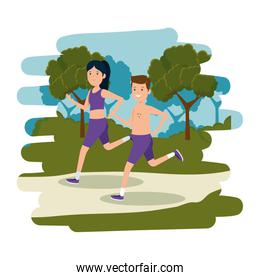 happy athletic couple running in the camp