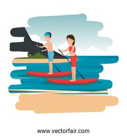 happy athletic couple practicing surf in the sea