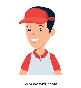young boy with sport cap character