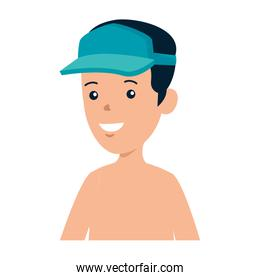 young boy shirtless with sport cap