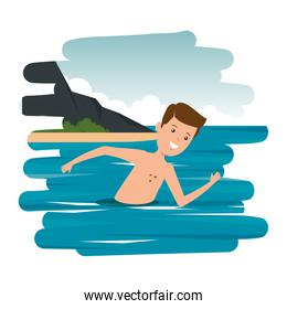 young boy shirtless swiming in the sea