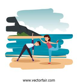 athletic couple practicing exercice on the beach scene