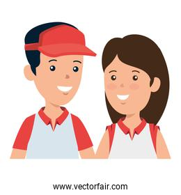 young boy with sport cap and cute woman
