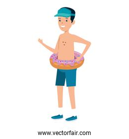 young man with donut float character