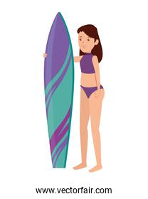 happy athletic girl practicing surf sport