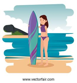 happy athletic girl practicing surf in the sea