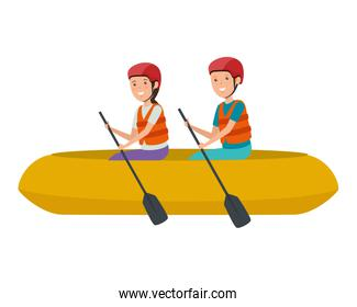 happy athletic couple in kayak characters