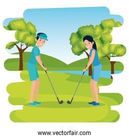 happy athletic couple practicing golf in the camp