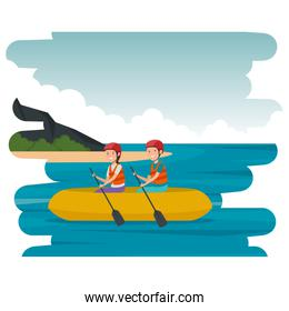 happy athletic couple in kayak on the beach