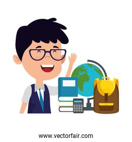 happy student boy with schoolbag and world map