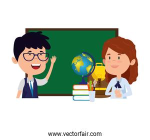 students couple with chalkboard and world map