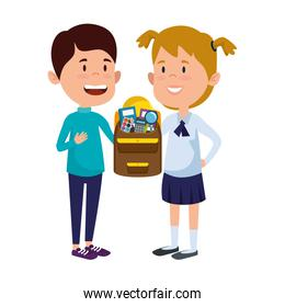 happy little students couple with schoolbag