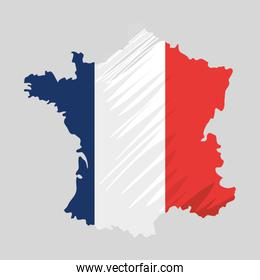 map with french flag colors country
