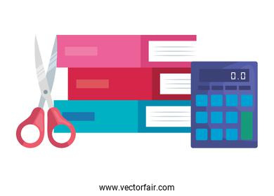 pile textbooks with scissor and calculator