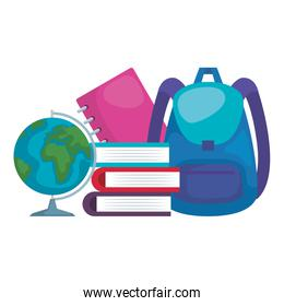 pile textbooks with schoolbag and world planet