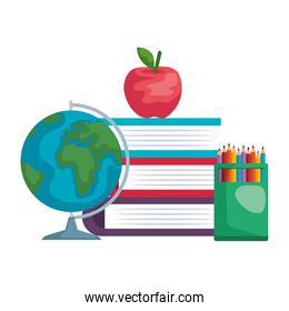 pile textbooks with world map and colors pencils