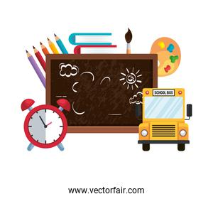 school chalkboard with alarm clock and bus