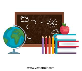 school chalkboard with world map and supplies