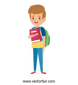 happy student boy with schoolbag and books