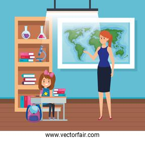 female teacher with student girl in the classroom