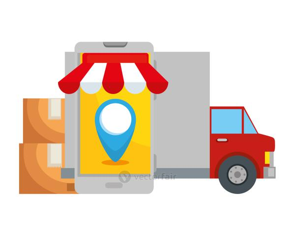 delivery service truck with smartphone and boxes
