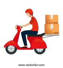 worker of delivery service in motorcycle with boxes