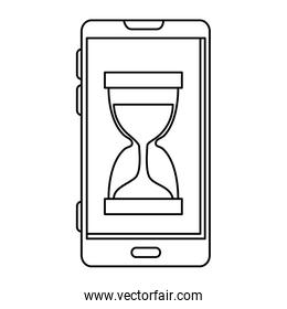 smartphone with hourglass time icon