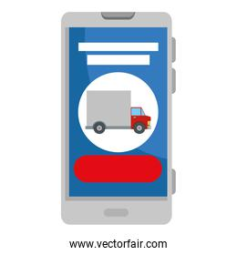 smartphone with delivery truck app