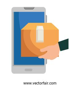 hand using smartphone with delivery box app