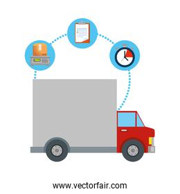 truck delivery service with set icons