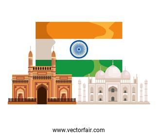 indian flag country with palaces buildings