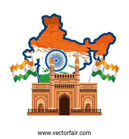 map with indian flag and gate building