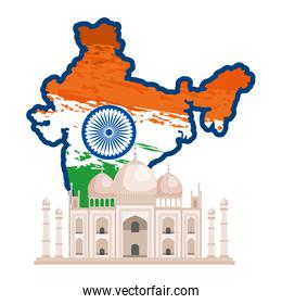 map with indian flag and taj majal building