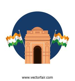 indian gate arch monument with flags