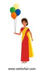 pretty woman from india with balloons helium