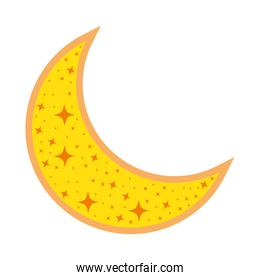 cute moon crescent isolated icon