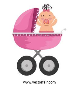 baby cart with little girl character