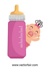 cute little baby girl with bottle milk character