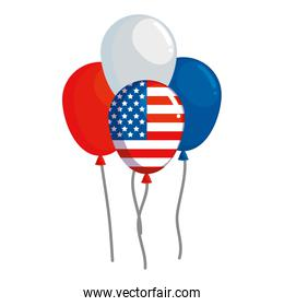 balloons helium floating with united states of america flag