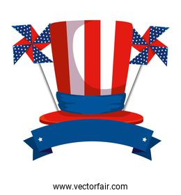 tophat with united states of america flag and wind toy