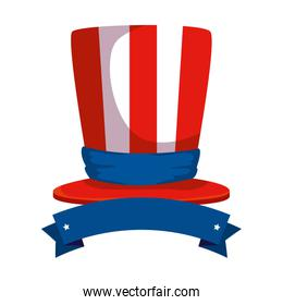 tophat with united states of america flag and ribbon