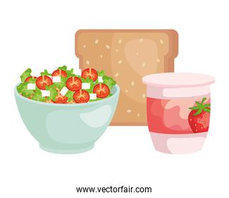ceramic bowl with vegetables salad and bread