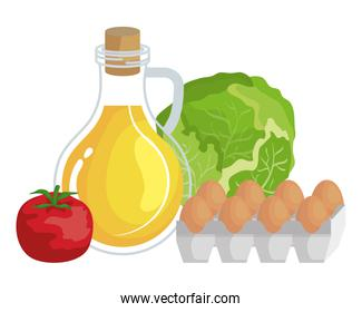 oilve oil with eggs and vegetables healthy food icons