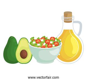 ceramic bowl vegetables salad with olive oil and avocado