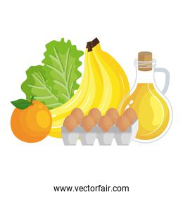 oilve oil with eggs and fruits healthy food icons