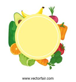 fresh vegetables and fruits around healthy food