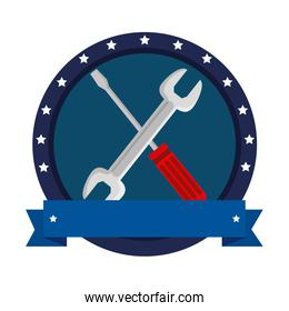 wrench and screwdriver tools crossed