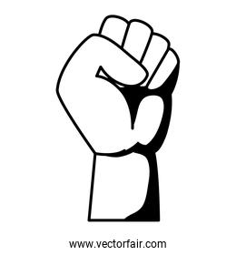 hand human fist power fighter linear icon